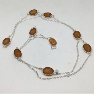 "Long Amber and Silver Necklace 32""-35"""